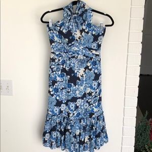 Size 2 Tory Burch blue floral halter dress